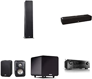 Polk Audio Signature Series 5.1 Channel Home Theater System w/Powered Subwoofer & Denon AVR-S650H Receiver | Two (2) S50 Tower, One (1) S35 Center Channel, Two (2) S10 Bookshelf Speakers, PSW111 Sub