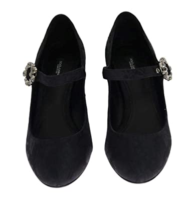 04687ce82f756 Amazon.com: Dolce & Gabbana Black Brocade Crystal Mary Janes Shoes ...