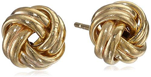 14k Yellow Gold Double Wrap Love Knot Stud Earrings