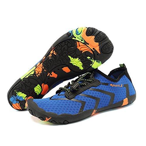 Zapatos para Slip 1 rápido Sock para Agujeros con Hombres Zapatos de Aqua Secado de de Playa Descalzos azul Agua Drenaje on multifuncionales HooyFeel pwEX1znq