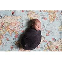 Amazon country rustic blankets swaddling nursery bedding world map baby blanket welcome to the world little one gumiabroncs Images