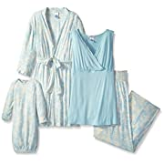 Everly Grey Women's Roxanne 5 Piece Maternity and Nursing PJ Pant Set with Robe and Matching Baby Gown, Chantilly, Large