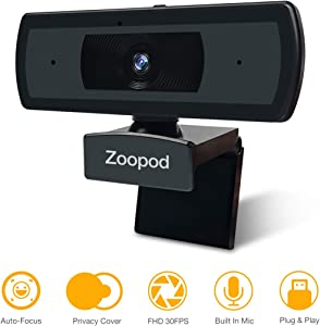 Webcam with Autofocus HD 1080P USB Camera PC Camera with Internal Microphone for Online Meetings Plug and Play for PC Desktop or Laptop Face Camera with Autofocus with Privacy Shutter