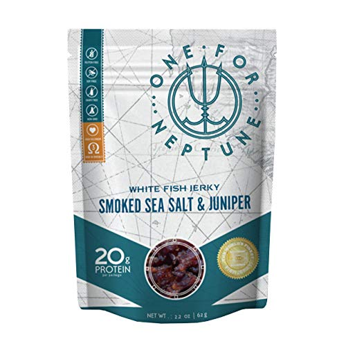 Wild Caught White Fish Jerky - Smoked Sea Salt & Juniper - OneForNeptune 2.2oz | Organic, Gluten-Free & Paleo | 20g Protein & 580mg Omega 3s | Sustainably Sourced from Small US Fisheries ()