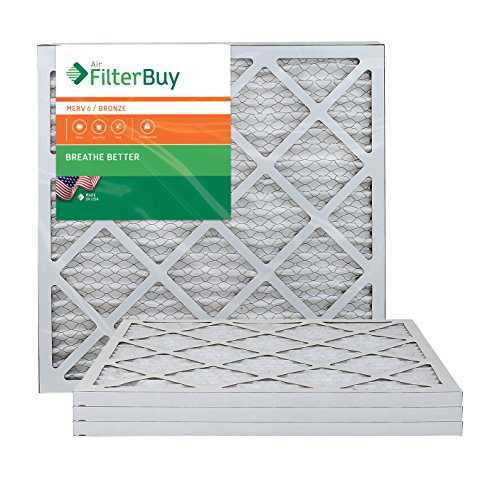 AFB Bronze MERV 6 22x22x1 Pleated AC Furnace Air Filter. Pack of 4 Filters. 100% produced in the USA. by FilterBuy