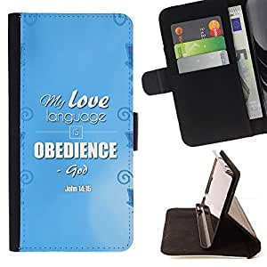 BullDog Case - FOR/HTC One M8 / - / MY LOVE LANGUAGE IS OBEDIENCE - JOHN 14:15 /- Monedero de cuero de la PU Llevar cubierta de la caja con el ID Credit Card Slots Flip funda de cuer