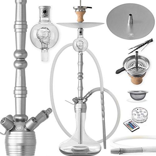 DILAW® MANYAK Shisha Set Hookah 93cm Aluminium Alu + LED Licht | Wasserpfeife Kaminkopf Komplettset Molassefänger…