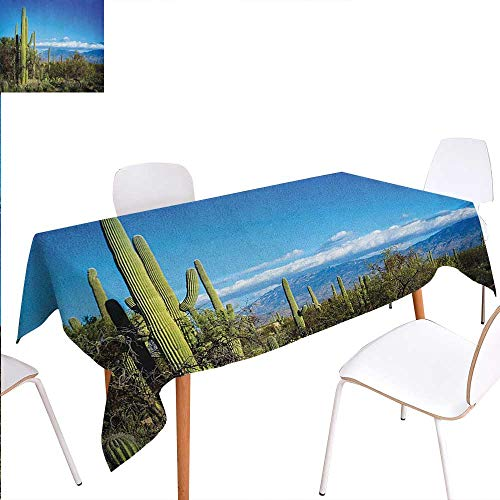 - Warm Family Desert Customized Tablecloth Wide View of The Tucson Countryside with Cacti Rural Wild Landscape Arizona Phoenix Stain Resistant Wrinkle Tablecloth 50