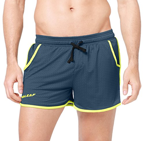 Baleaf Men's Workout Running Mesh Pocket Shorts Grey Size S