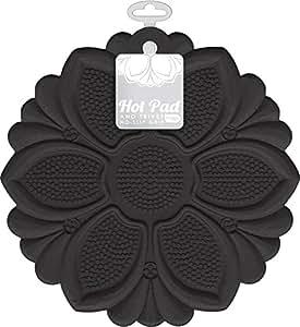 "Talisman Designs No-Slip Grip Hot Pad, Pot Holder & Trivet, BPA-free Silicone, Black, 7.5"" Diameter"
