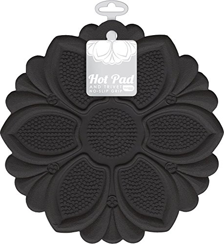 Large Product Image of Talisman Designs No-Slip Grip Hot Pad, Black, Pot Holder, Spoon Rest, Jar Opener and Trivet, BPA-free Silicone