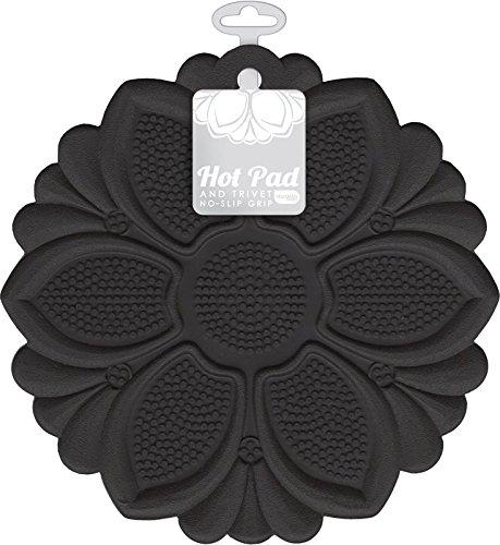 Large Product Image of Talisman Designs No-Slip Grip Hot Pad, Pot Holder & Trivet, BPA-free Silicone, Black, 7.5