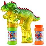 Prextex Dinosaur Bubble Gun Shooter Light Up Bubbles Blower with LED Flashing Lights