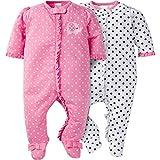 Gerber Baby Girls' 2 Pack Zip Front Sleep 'n Play,Elephants/Flowers,0-3 Months: more info