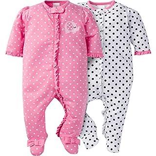 Gerber Baby Girls' 2 Pack Zip Front Sleep 'n Play,Elephants/Flowers,3-6 Months