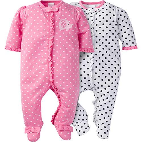 Gerber Baby Girls' 2 Pack Zip Front Sleep 'n Play,Elephants/Flowers,0-3 ()