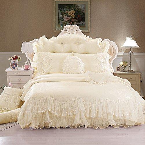 Sisbay Luxury Rose Flower Wedding Bedding Beige Queen,Girls Falbala Bed in a Bag Lace Pillows,Beautiful Ruffle Bed Skirt,8pcs