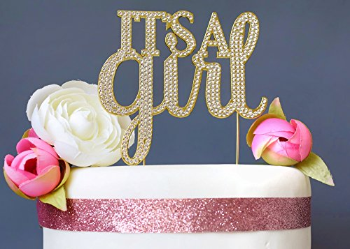 It's a Girl GOLD Cake Topper | Premium Sparkly Rhinestone Diamond Crystal Gems | Gender Reveal or Baby Shower Decoration Ideas | Perfect Keepsake (It's a Girl Gold) Baby Shower Diamond