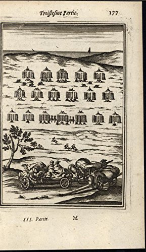Rows Columns (Army in Camp Organized Row Columns Discipline 1672 antique engraved print)