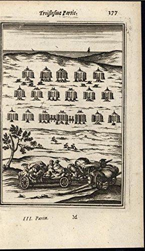 Rows Columns (Army in Camp Organized Row Columns Discipline 1672 antique engraved print)
