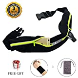 Abeter Workout Belt Running Waist Pack Belt Waterproof With 2 Expandable Pocket Pouch for Cell Phone Iphone 6 7 8 X Plus, Cards, Keys, Money For Women, Men Sports
