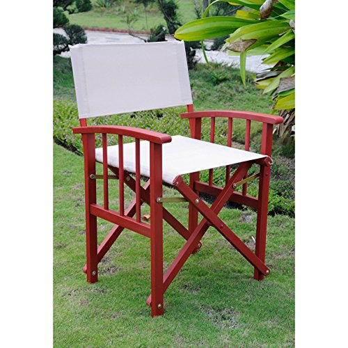 International Caravan FA-080A-2CH-BRD-KH-IC Furniture Piece Set of Two Directors Chair with Mission Style Arms