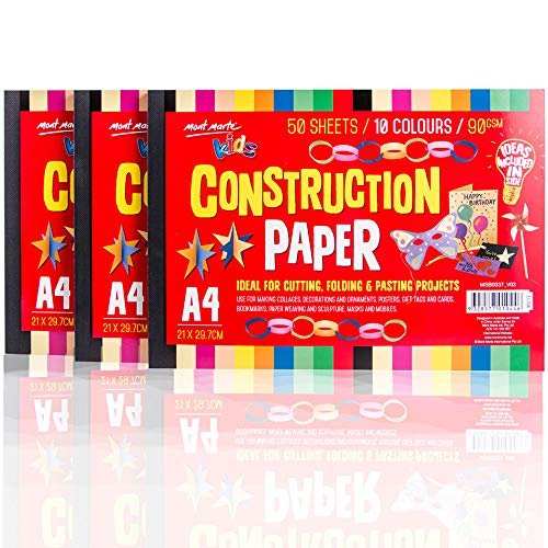 Mont Marte Construction Paper, Large Construction Paper for Kids, 10 Assorted Color 150 Sheets&A4 Size 90 GSM -