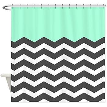 black and turquoise shower curtain. CafePress  Mint Black White Chevron Shower Curtain Decorative Fabric Amazon com Coral Aqua Grey