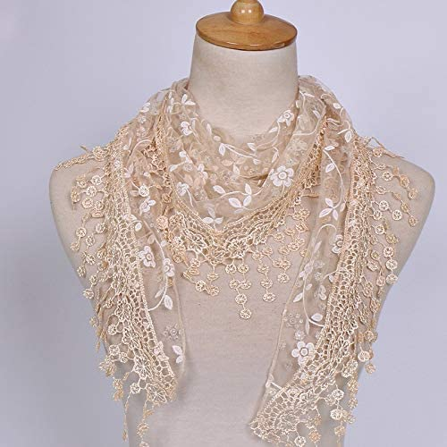 HOT New Fashion Women Lace Sheer Floral Scarf Shawl Wrap Tassel Scarf Gift for Her HOT