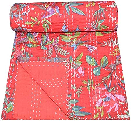 Handmade Twin Size Cotton Bedspread Patchwork Kantha Quilt Coverlet Throw Indian