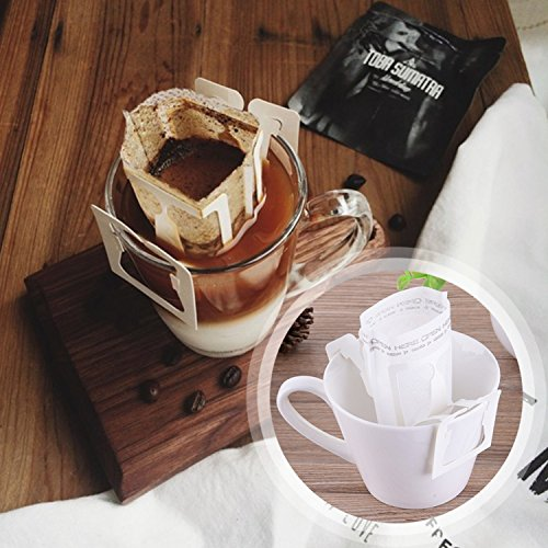 50Pcs / Pack Drip Coffee Filter Bag Portable Hanging Ear Style Coffee Filters Paper Home Office Travel Brew Coffee by Gogil