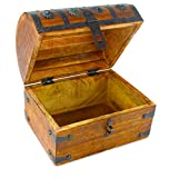 WellPackBox Wooden Pirate Treasure Chest Box With Antique Style Lock And Skeleton Key (Small 8 x 6 x 6)