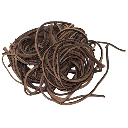 Hide & Drink, Thick Leather Straps for Arts & Crafts, (1/4 to 1/2 in.) Wide, Different Lengths (8 oz Pack) :: Bourbon Brown