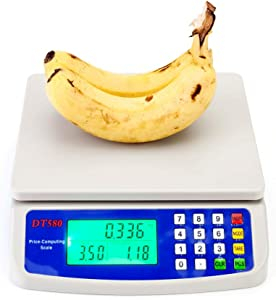Vegetable Digital Price Computing Scale with LCD Display Tare weighing functon for Retail Outlet Store Kitchen Restaurant Market Farmer Food Meat Fruit, White