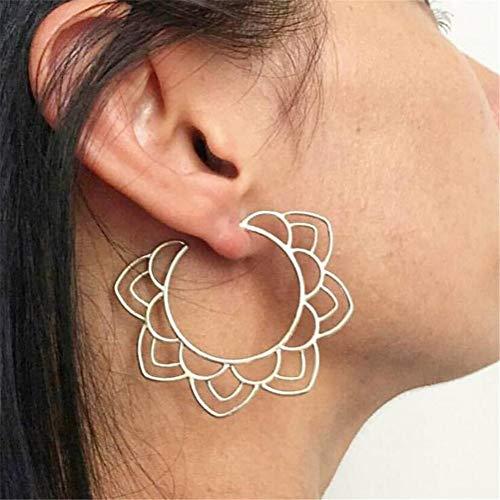 Shefine Ethnic Tribal Floral Drop Earring, Hollow Flower Dangle Earring Circle Hoop Earrings for Girls (Gold Floral Drop)