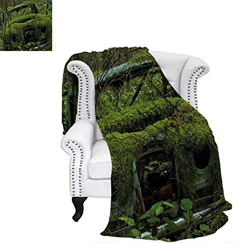 Weave Pattern Blanket Old Abandoned Forest with Moss and Fourties and Fifties Car Art Photo Custom Design Cozy Flannel Blanket 60