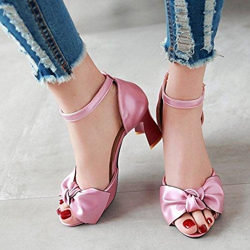 RAZAMAZA Mujer Moda Correa de tobillo Peep Toe Sandalias With Big Bowknot Rosado