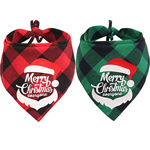Lamphyface 2 Pack Christmas Dog Plaid Bandana Triangle Bib Set Scarf Accessories for Dogs Cats (Gift Puppy Christmas)