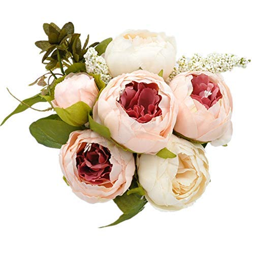 Homyu Artificial Peony Flowers Silk Bouquet Arrangement Glorious Moral for Home Parties and Weddings Decoration (Light Pink)