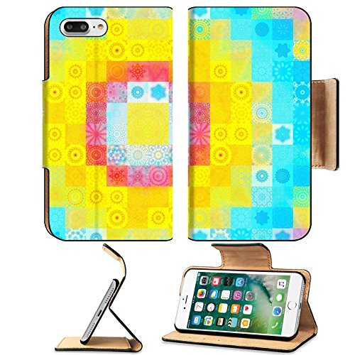 Luxlady Premium Apple iPhone 7 Plus Flip Pu Leather Wallet Case iPhone7 Plus 26782948 Color background with abstract bright mosaic (Mirror Image Clipart)