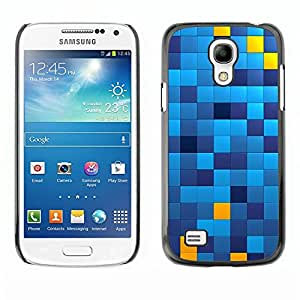 Be Good Phone Accessory // Dura Cáscara cubierta Protectora Caso Carcasa Funda de Protección para Samsung Galaxy S4 Mini i9190 MINI VERSION! // Pattern Chechkered Yellow Blue Squares