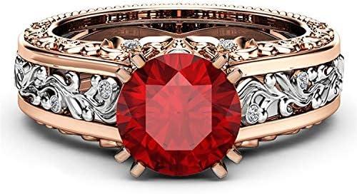 Lefang Anillo de Oro Rosa de 14 Quilates Chapado en Oro Anillo de Diamantes de Piedras Preciosas de champán es un Buen pequeño Regalo,Red,No.8
