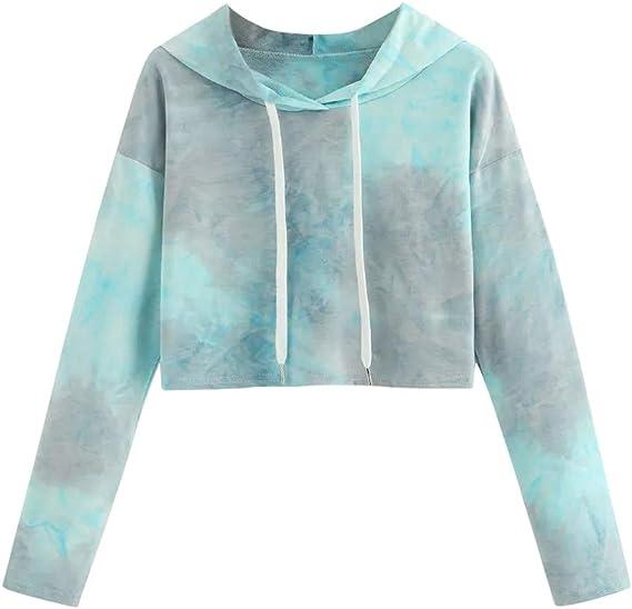 Anxinke Women Teen Girls Casual Crop Top Tie Dye Long Sleeve Drawstring Hoodies