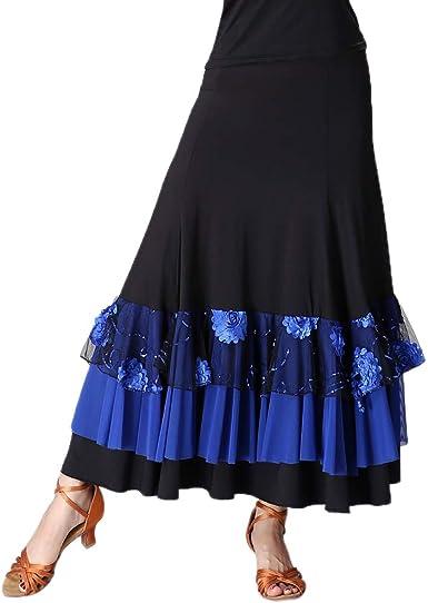 Falda de Flamenco Cintrua Alta Bordado de Flores con Lentejuelas ...