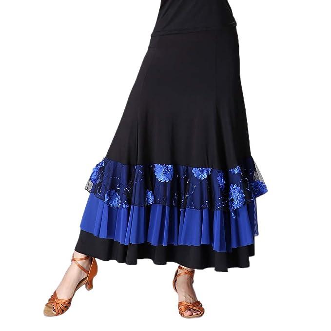 Falda de Flamenco Volante con Lentejuelas Traje de Baile Latino ...