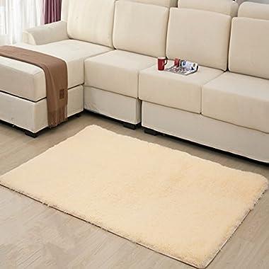 Hughapy® Home Decorator Modern Shag Area Rugs Super Soft Solid Living Room Carpet Bedroom Rug and Carpets,80 * 120cm(Beige)