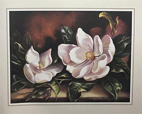 Unframed Print TWO MAGNOLIAS (FLOWER/KITCHEN) Artist PEGGY SIBLEY 16x20 Black Art Print Poster (16-1-A7) ()