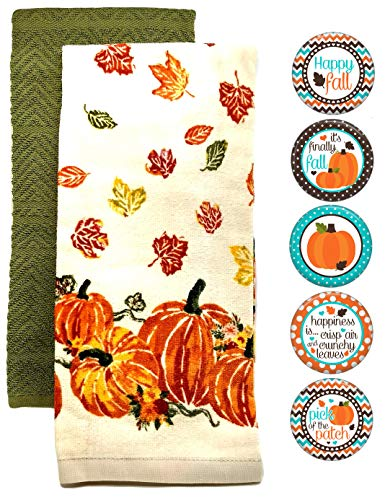 - Farmhouse Kitchen Towels and Fall Decor Refrigerator Magnets 7 Piece Set (Pumpkins & Leaves)