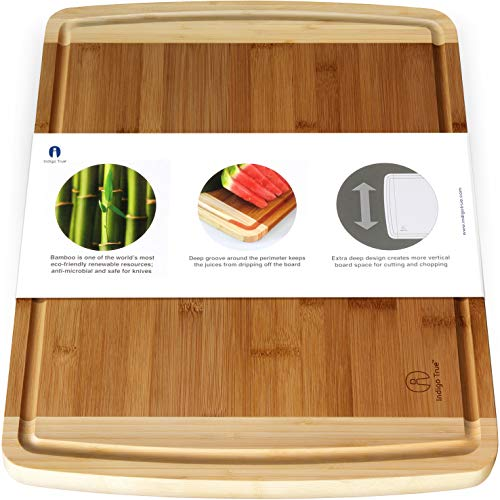 Extra Large Bamboo Cutting Board for Kitchen with Juice Groove - 17.5 x 13.5 x 0.75 inch (Cut Wood Groove)