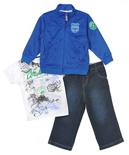 Akademiks Infant Boys 3Pc Royal Blue Track Jacket & Jean Pant Set
